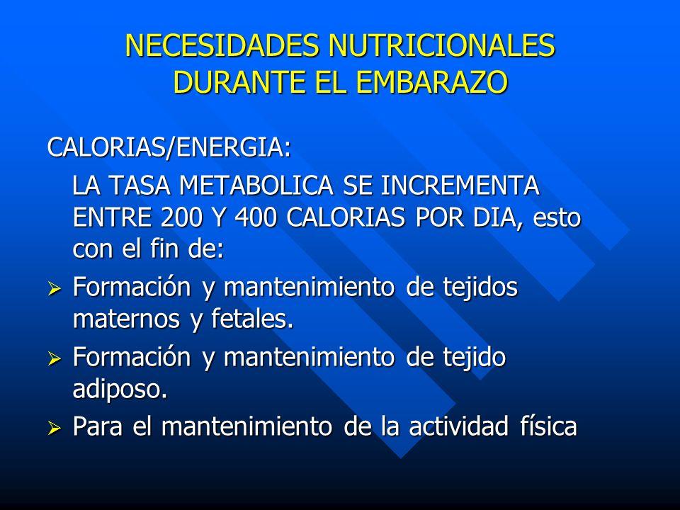 NECESIDADES NUTRICIONALES DURANTE EL EMBARAZO CALORIAS/ENERGIA: LA TASA METABOLICA SE INCREMENTA ENTRE 200 Y 400 CALORIAS POR DIA, esto con el fin de: