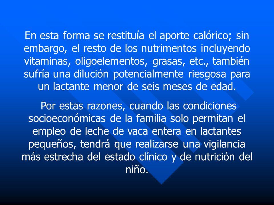En esta forma se restituía el aporte calórico; sin embargo, el resto de los nutrimentos incluyendo vitaminas, oligoelementos, grasas, etc., también su