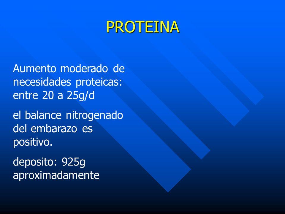 PROTEINA Aumento moderado de necesidades proteicas: entre 20 a 25g/d el balance nitrogenado del embarazo es positivo. deposito: 925g aproximadamente