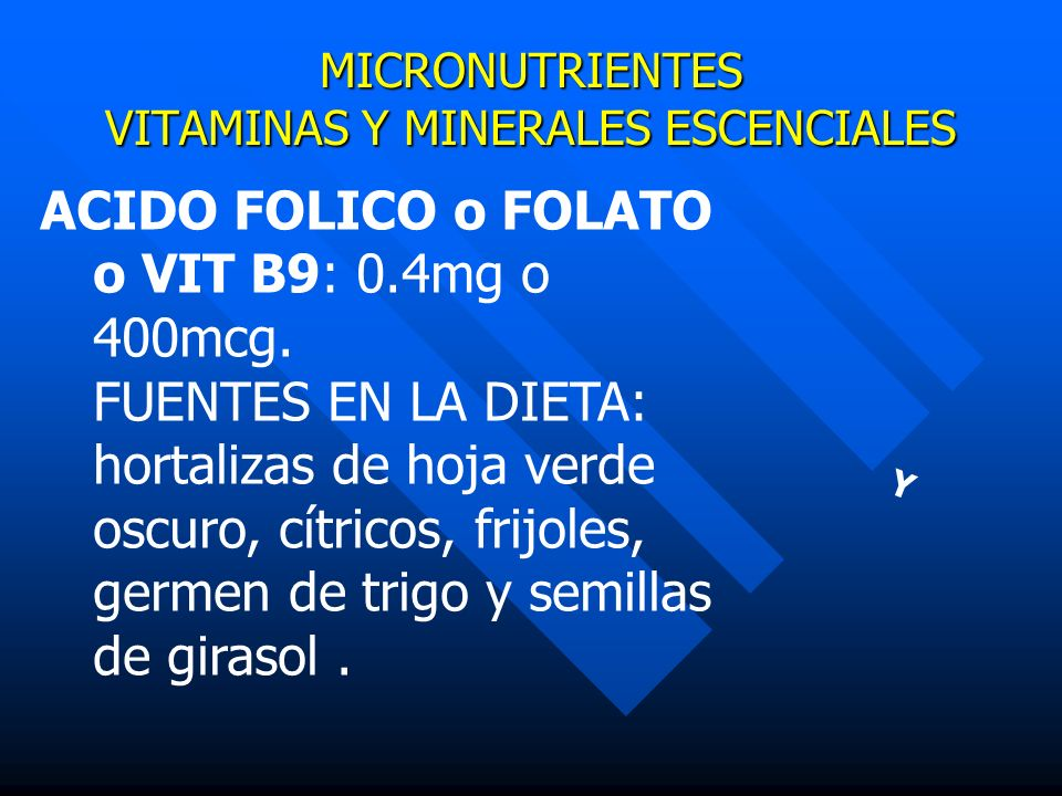 MICRONUTRIENTES VITAMINAS Y MINERALES ESCENCIALES Y ACIDO FOLICO o FOLATO o VIT B9: 0.4mg o 400mcg. FUENTES EN LA DIETA: hortalizas de hoja verde oscu