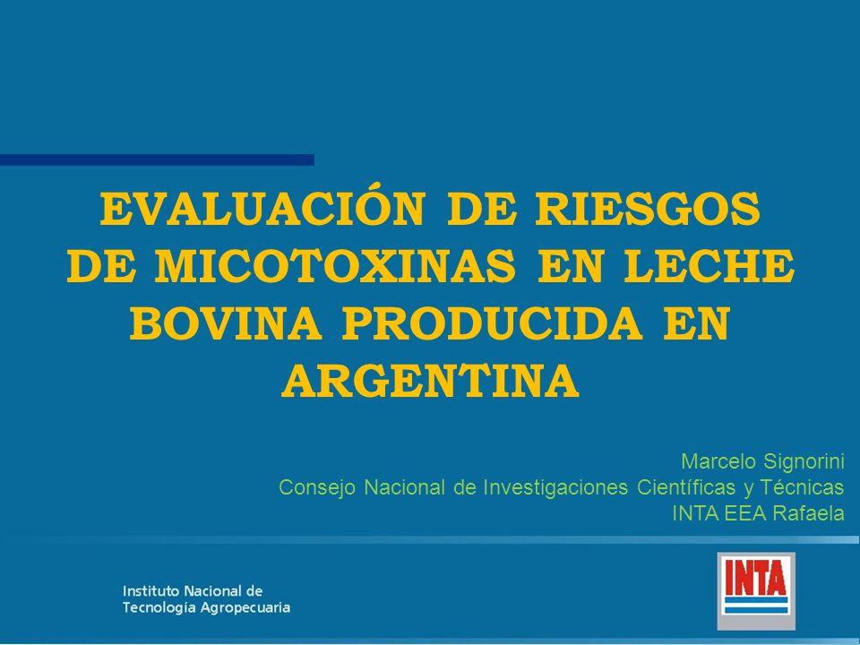 EVALUACIÓN DE RIESGOS DE MICOTOXINAS EN LECHE BOVINA PRODUCIDA EN ARGENTINA Marcelo Signorini Consejo Nacional de Investigaciones Científicas y Técnic