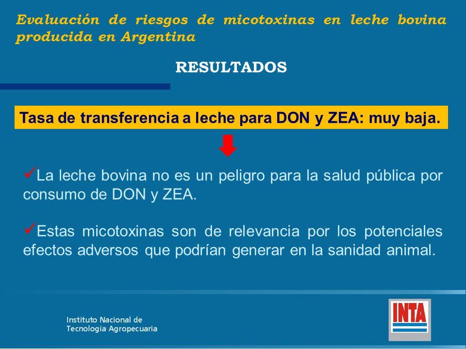 Tasa de transferencia a leche para DON y ZEA: muy baja. Evaluación de riesgos de micotoxinas en leche bovina producida en Argentina RESULTADOS La lech