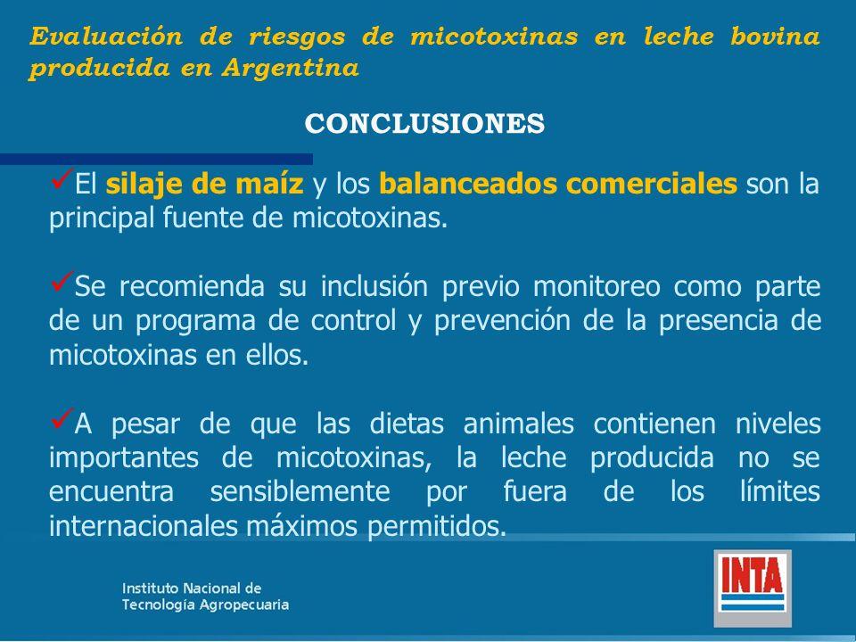El silaje de maíz y los balanceados comerciales son la principal fuente de micotoxinas. Se recomienda su inclusión previo monitoreo como parte de un p