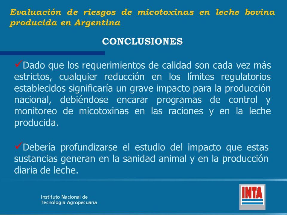 Debería profundizarse el estudio del impacto que estas sustancias generan en la sanidad animal y en la producción diaria de leche. Evaluación de riesg