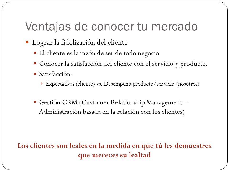 Ventajas de conocer tu mercado Lograr la fidelización del cliente El cliente es la razón de ser de todo negocio. Conocer la satisfacción del cliente c