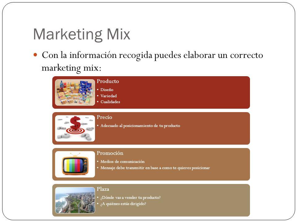 Marketing Mix Con la información recogida puedes elaborar un correcto marketing mix: Producto Diseño Variedad Cualidades Precio Adecuado al posicionam