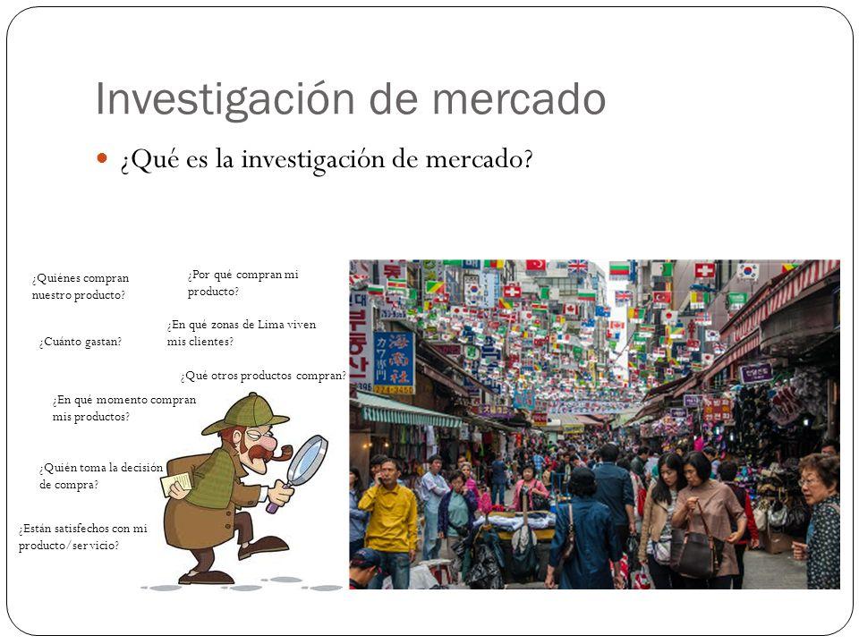 Investigación de mercado ¿Qué es la investigación de mercado? ¿Quiénes compran nuestro producto? ¿Por qué compran mi producto? ¿En qué zonas de Lima v