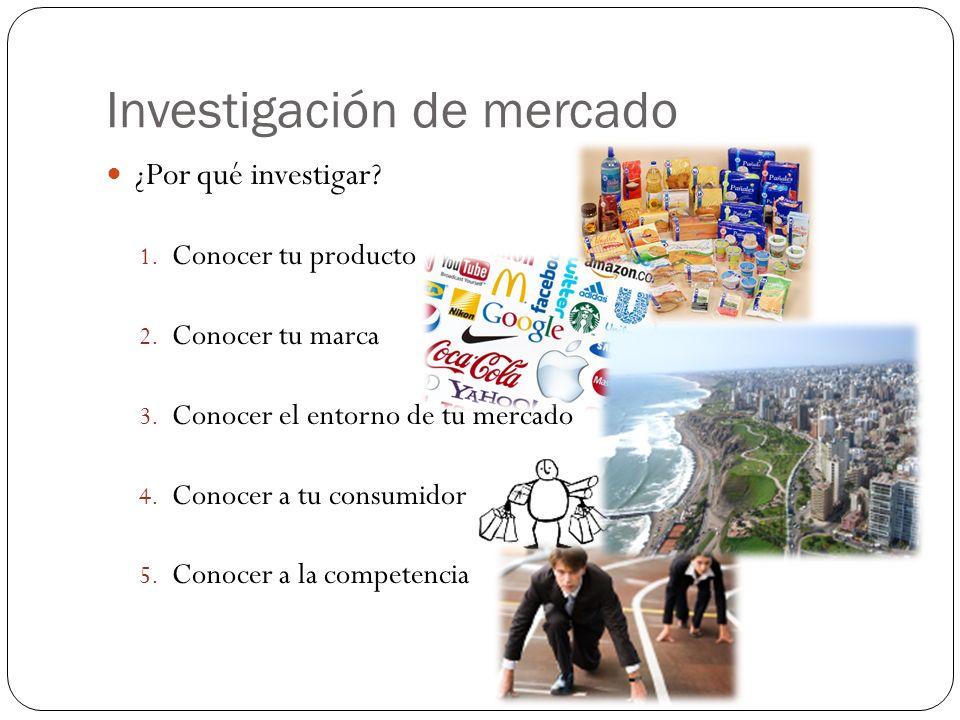 Investigación de mercado ¿Por qué investigar? 1. Conocer tu producto 2. Conocer tu marca 3. Conocer el entorno de tu mercado 4. Conocer a tu consumido