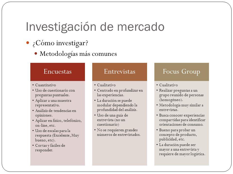 Investigación de mercado ¿Cómo investigar? Metodologías más comunes Encuestas Cuantitativo Uso de cuestionario con preguntas puntuales. Aplicar a una