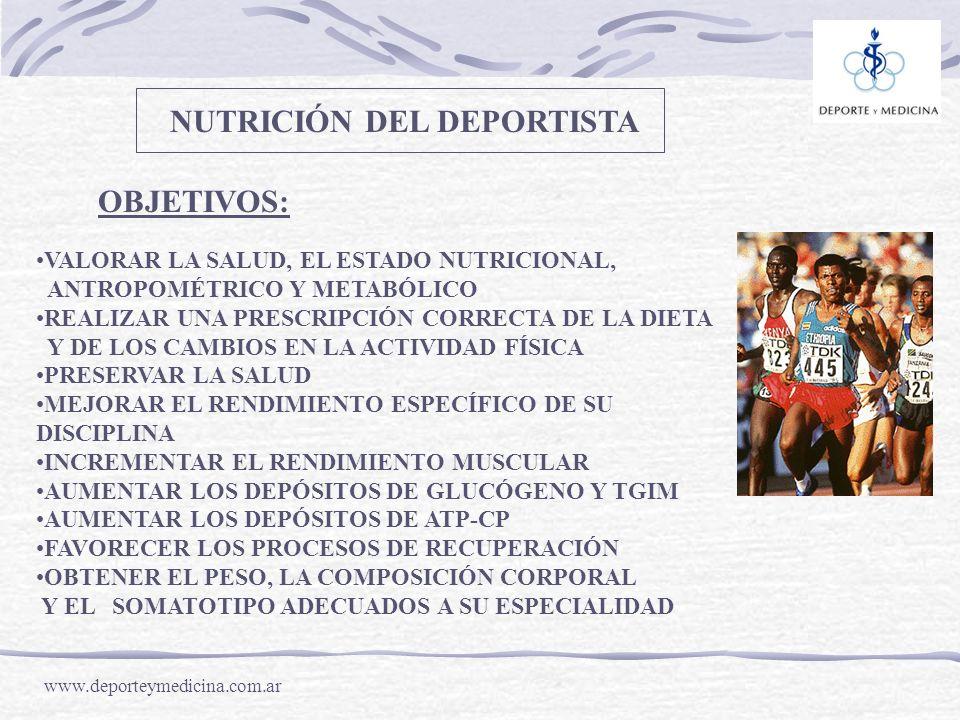 www.deporteymedicina.com.ar OBJETIVOS: VALORAR LA SALUD, EL ESTADO NUTRICIONAL, ANTROPOMÉTRICO Y METABÓLICO REALIZAR UNA PRESCRIPCIÓN CORRECTA DE LA D