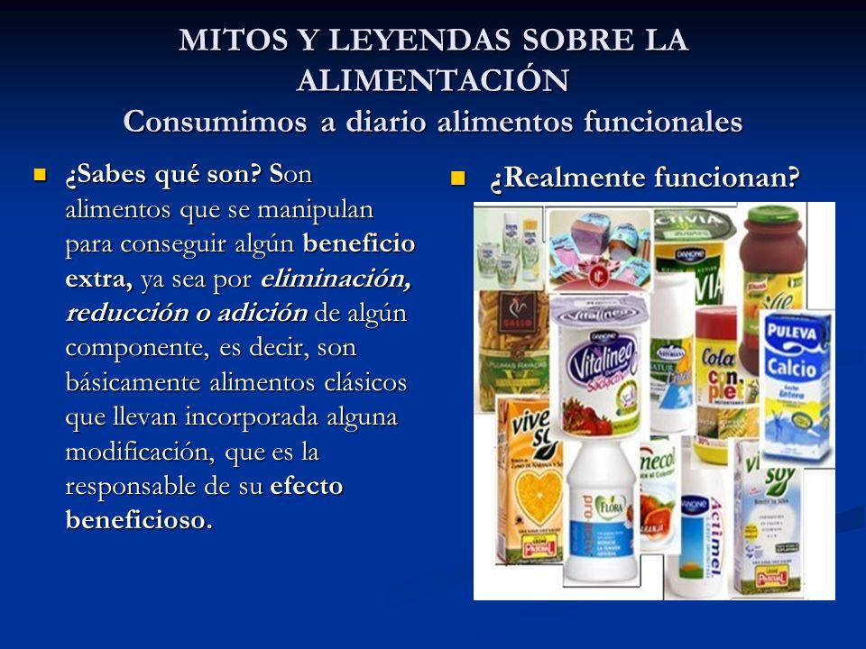 MITOS Y LEYENDAS SOBRE LA ALIMENTACIÓN Consumimos a diario alimentos funcionales ¿Sabes qué son? Son alimentos que se manipulan para conseguir algún b