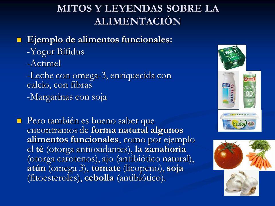 MITOS Y LEYENDAS SOBRE LA ALIMENTACIÓN Ejemplo de alimentos funcionales: Ejemplo de alimentos funcionales: -Yogur Bífidus -Actimel -Leche con omega-3,