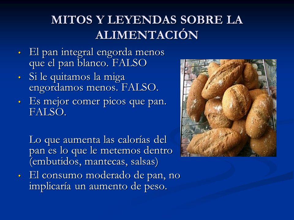 MITOS Y LEYENDAS SOBRE LA ALIMENTACIÓN El pan integral engorda menos que el pan blanco. FALSO El pan integral engorda menos que el pan blanco. FALSO S