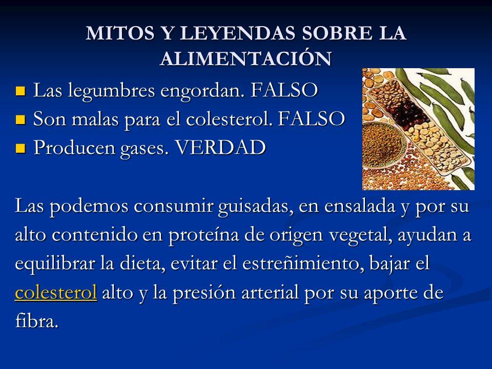 MITOS Y LEYENDAS SOBRE LA ALIMENTACIÓN Las legumbres engordan. FALSO Las legumbres engordan. FALSO Son malas para el colesterol. FALSO Son malas para
