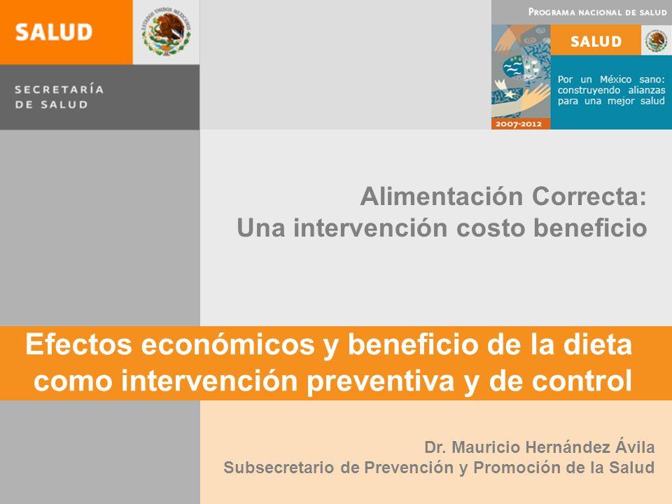 Efectos económicos y beneficio de la dieta como intervención preventiva y de control Alimentación Correcta: Una intervención costo beneficio Dr.