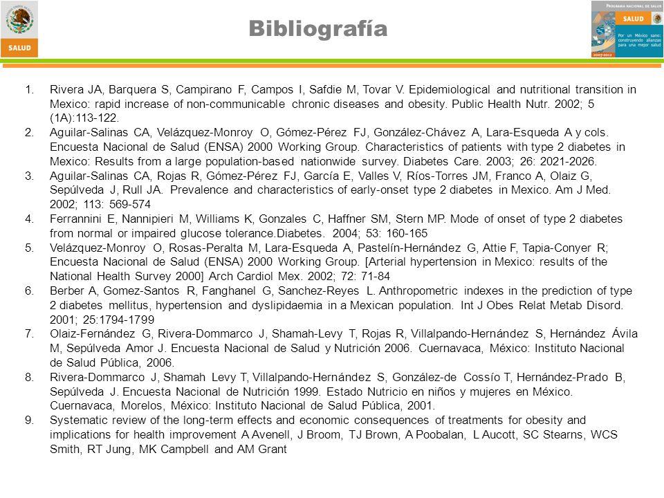 Bibliografía 1.Rivera JA, Barquera S, Campirano F, Campos I, Safdie M, Tovar V.