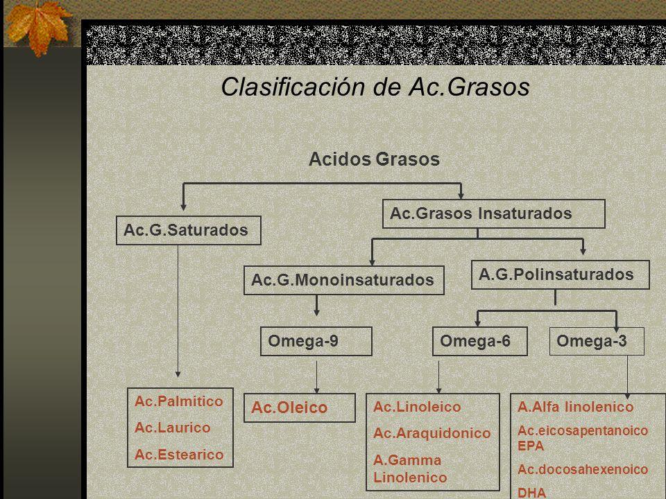 Clasificación de Ac.Grasos Acidos Grasos Ac.G.Saturados Ac.Grasos Insaturados Ac.G.Monoinsaturados A.G.Polinsaturados Omega-6 Omega-3 Omega-9 Ac.Palmi