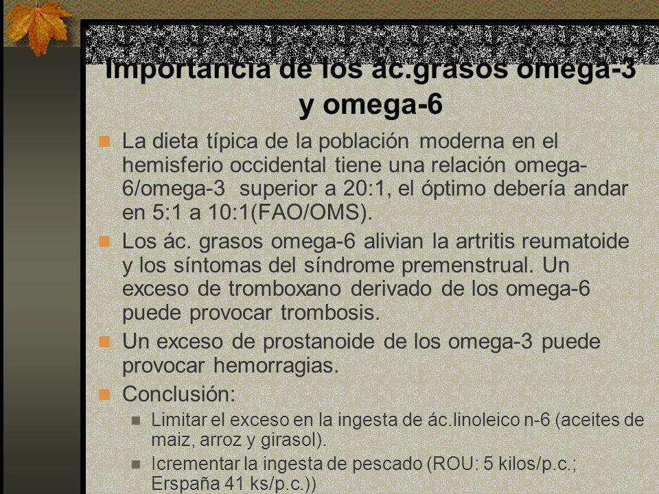 Importancia de los ác.grasos omega-3 y omega-6 La dieta típica de la población moderna en el hemisferio occidental tiene una relación omega- 6/omega-3