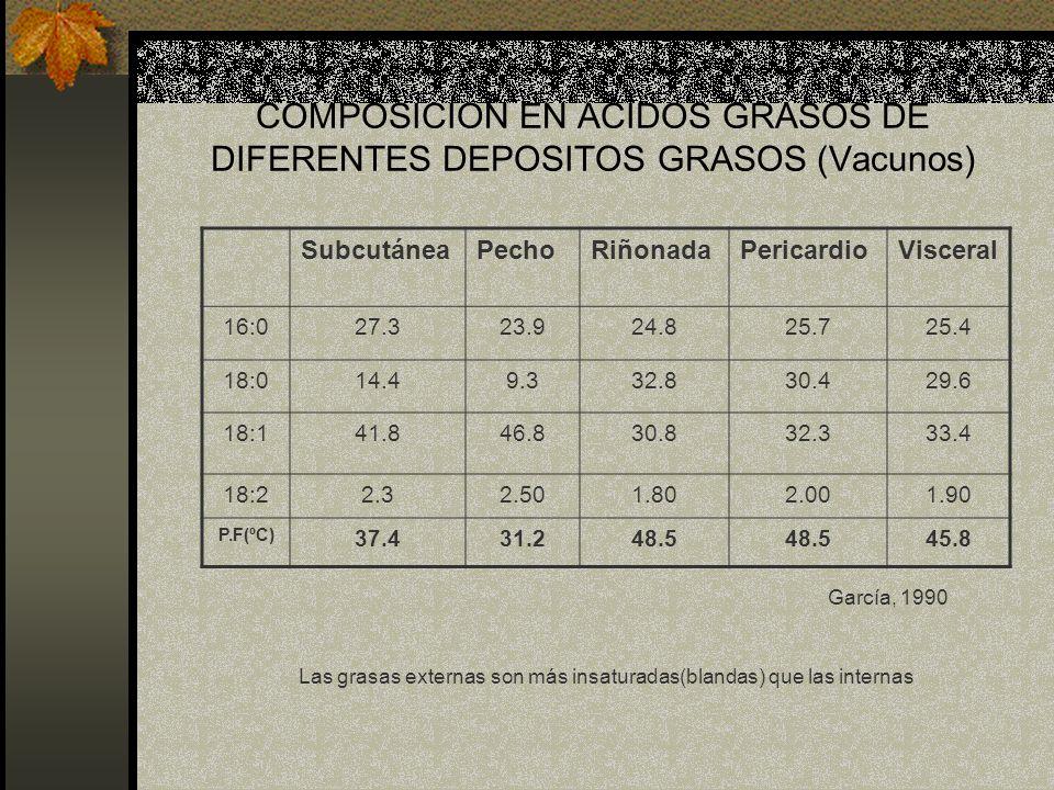 COMPOSICION EN ACIDOS GRASOS DE DIFERENTES DEPOSITOS GRASOS (Vacunos) SubcutáneaPechoRiñonadaPericardioVisceral 16:027.323.924.825.725.4 18:014.49.332