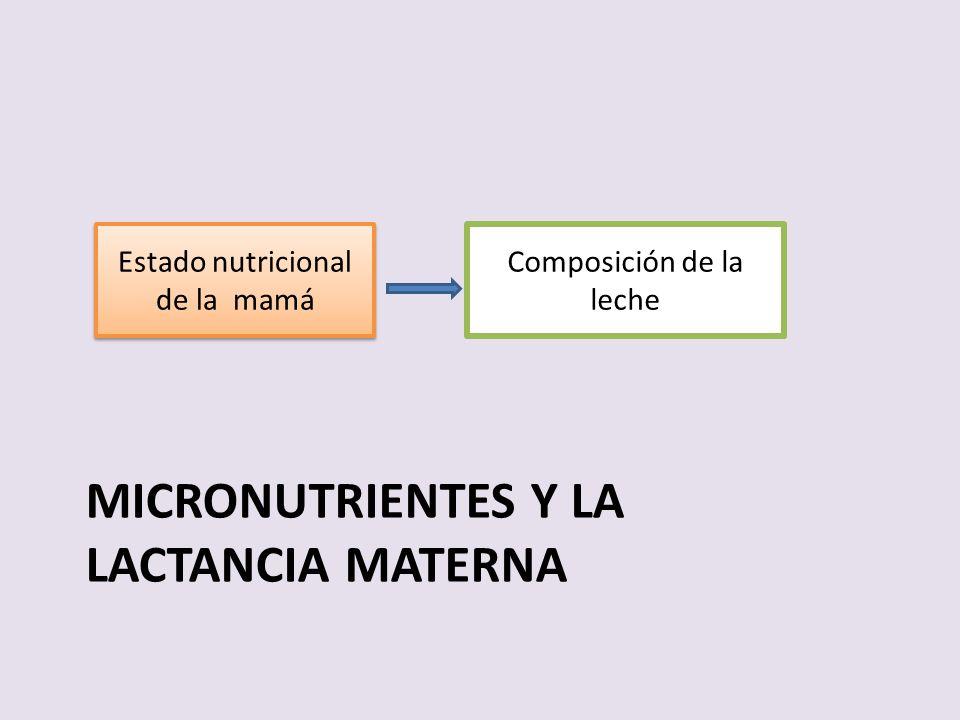 MICRONUTRIENTES Y LA LACTANCIA MATERNA Composición de la leche Estado nutricional de la mamá