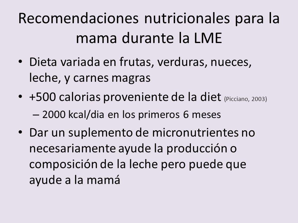 Recomendaciones nutricionales para la mama durante la LME Dieta variada en frutas, verduras, nueces, leche, y carnes magras +500 calorias proveniente