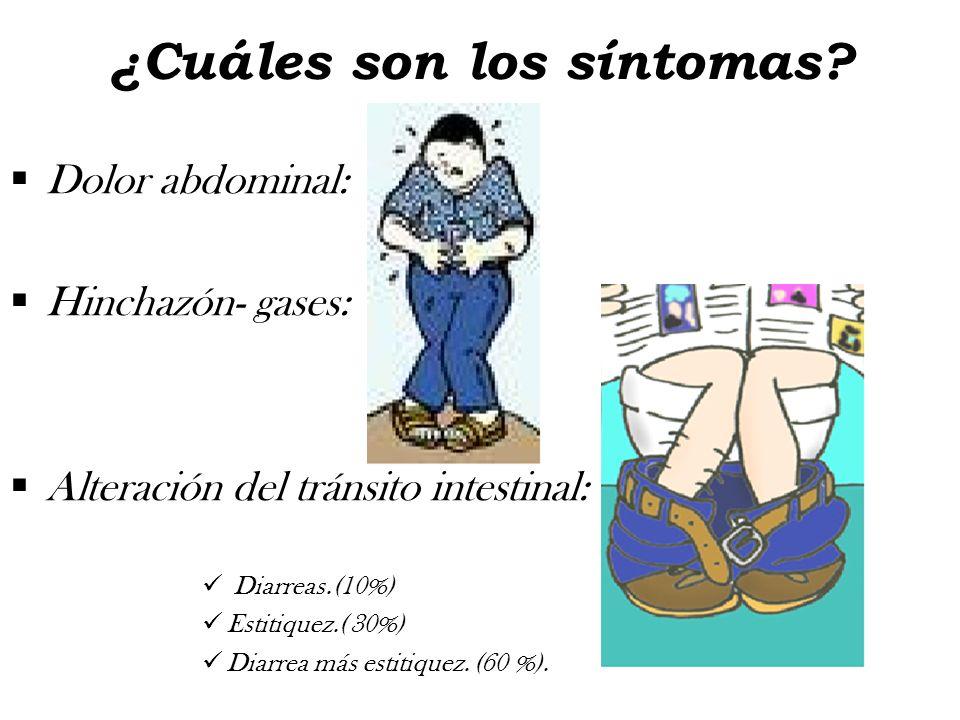 ¿Cuáles son los síntomas? Dolor abdominal: Hinchazón- gases: Alteración del tránsito intestinal: Diarreas.(10%) Estitiquez.( 30%) Diarrea más estitiqu