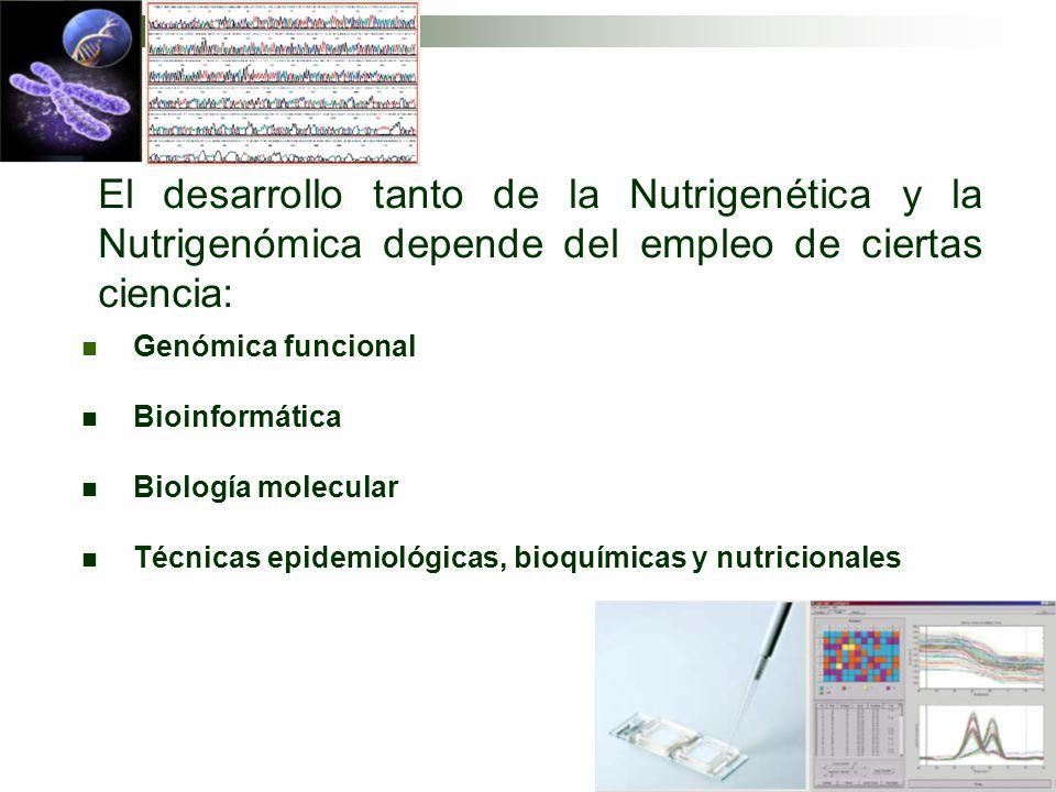 Genómica funcional Bioinformática Biología molecular Técnicas epidemiológicas, bioquímicas y nutricionales El desarrollo tanto de la Nutrigenética y l