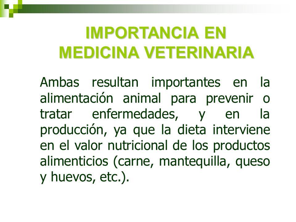 Ambas resultan importantes en la alimentación animal para prevenir o tratar enfermedades, y en la producción, ya que la dieta interviene en el valor n