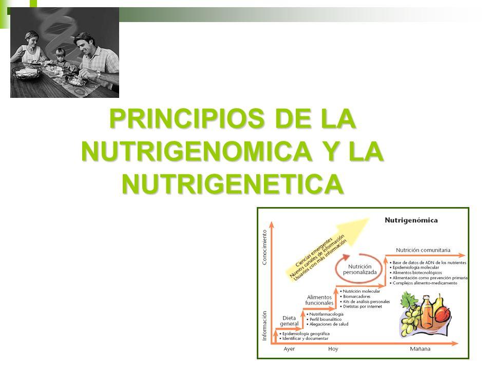 PRINCIPIOS DE LA NUTRIGENOMICA Y LA NUTRIGENETICA