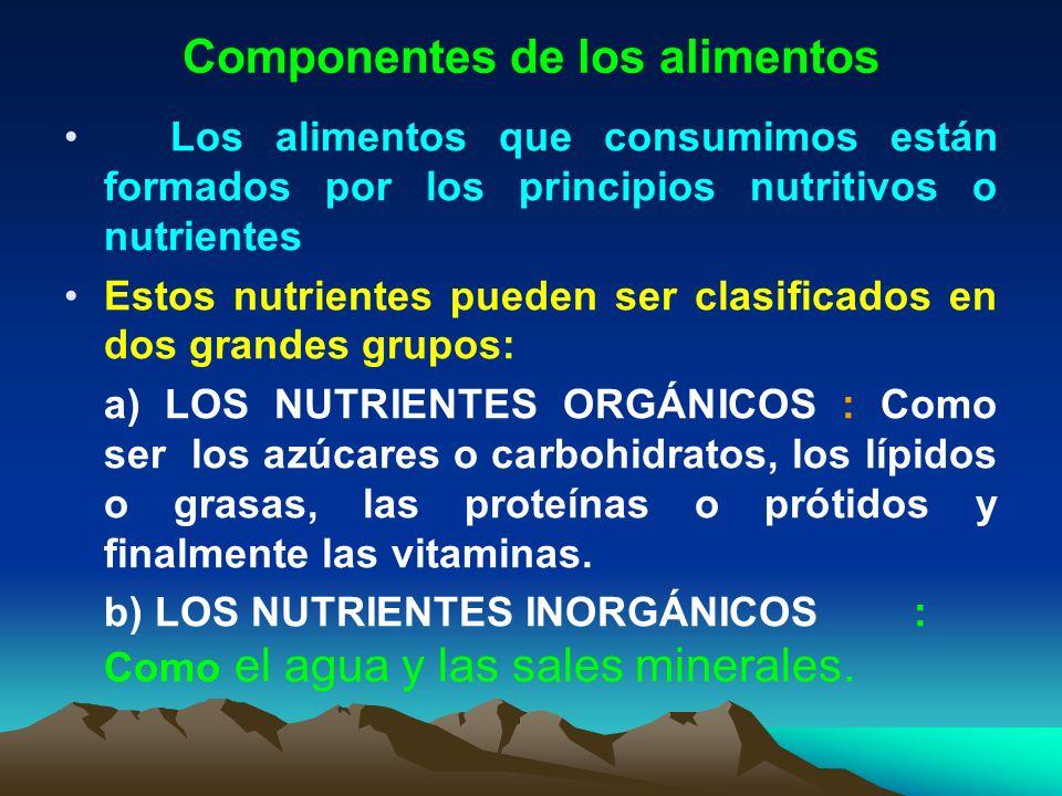 Componentes de los alimentos Los alimentos que consumimos están formados por los principios nutritivos o nutrientes Estos nutrientes pueden ser clasif