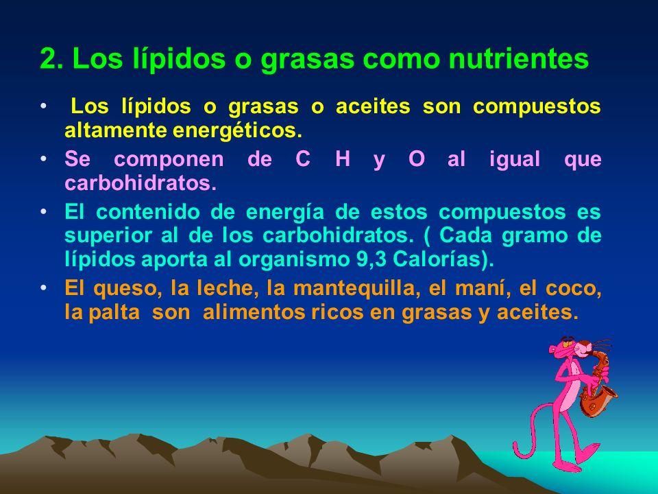 2. Los lípidos o grasas como nutrientes Los lípidos o grasas o aceites son compuestos altamente energéticos. Se componen de C H y O al igual que carbo