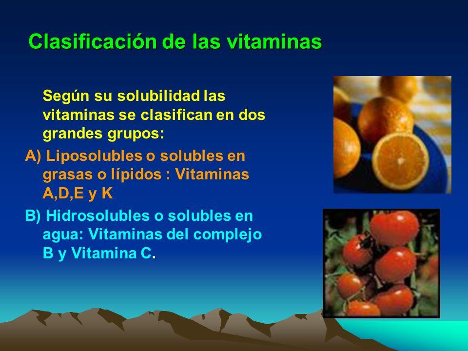 Clasificación de las vitaminas Según su solubilidad las vitaminas se clasifican en dos grandes grupos: A) Liposolubles o solubles en grasas o lípidos