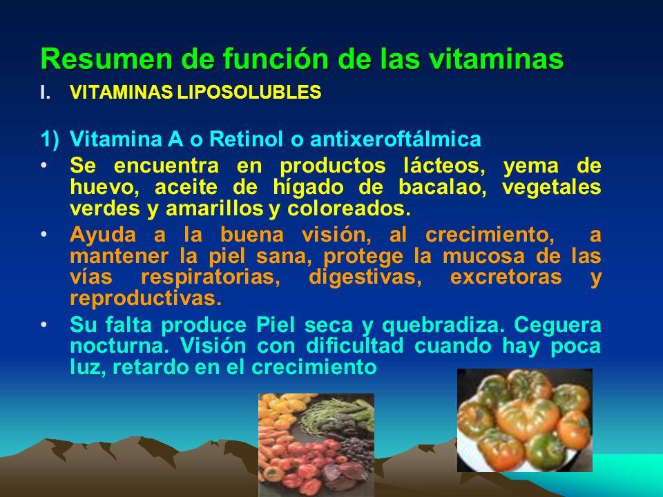 Resumen de función de las vitaminas I.VITAMINAS LIPOSOLUBLES 1)Vitamina A o Retinol o antixeroftálmica Se encuentra en productos lácteos, yema de huev