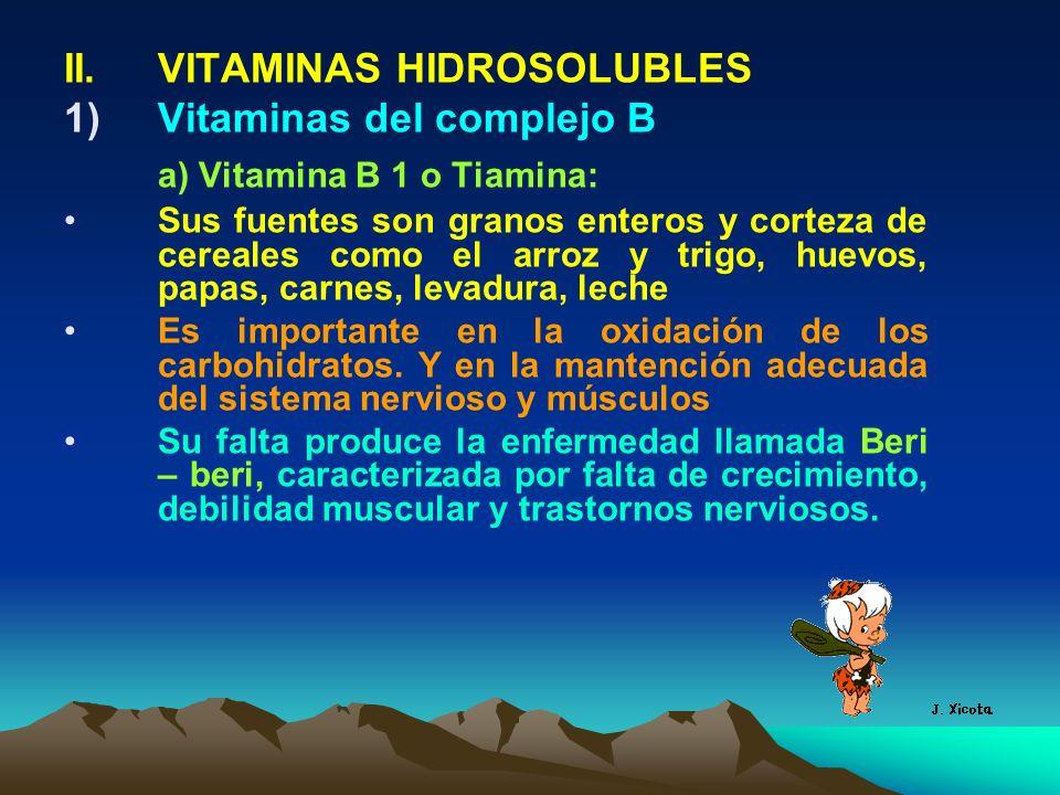 II.VITAMINAS HIDROSOLUBLES 1)Vitaminas del complejo B a) Vitamina B 1 o Tiamina: Sus fuentes son granos enteros y corteza de cereales como el arroz y