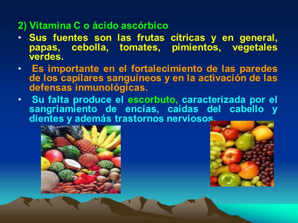 2) Vitamina C o ácido ascórbico Sus fuentes son las frutas cítricas y en general, papas, cebolla, tomates, pimientos, vegetales verdes. Es importante