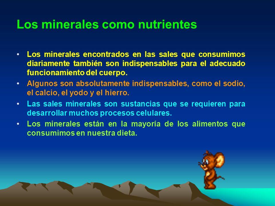Los minerales como nutrientes Los minerales encontrados en las sales que consumimos diariamente también son indispensables para el adecuado funcionami