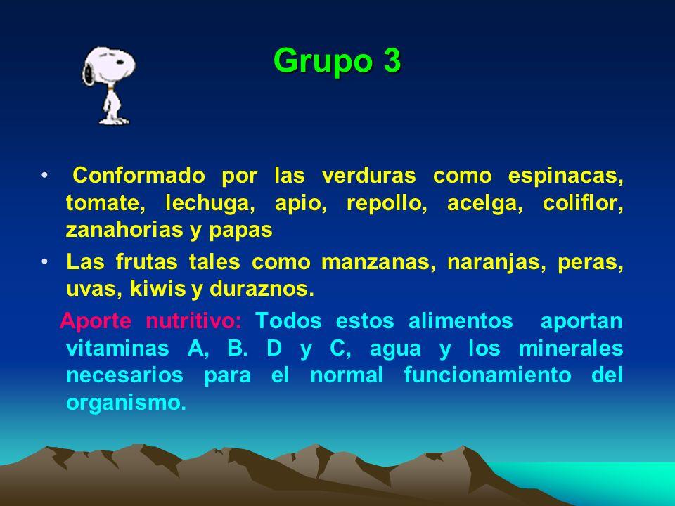 Grupo 3 Conformado por las verduras como espinacas, tomate, lechuga, apio, repollo, acelga, coliflor, zanahorias y papas Las frutas tales como manzana