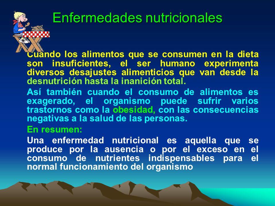 Enfermedades nutricionales Cuando los alimentos que se consumen en la dieta son insuficientes, el ser humano experimenta diversos desajustes alimentic