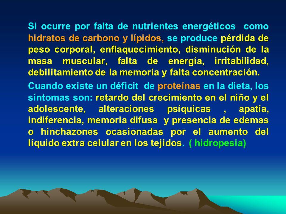 Si ocurre por falta de nutrientes energéticos como hidratos de carbono y lípidos, se produce pérdida de peso corporal, enflaquecimiento, disminución d