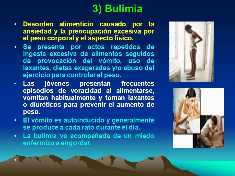 3) Bulimia Desorden alimenticio causado por la ansiedad y la preocupación excesiva por el peso corporal y el aspecto físico. Se presenta por actos rep