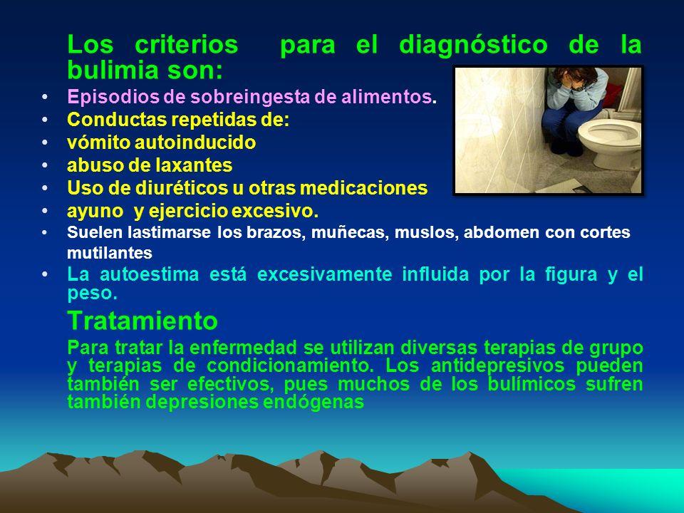 Los criterios para el diagnóstico de la bulimia son: Episodios de sobreingesta de alimentos. Conductas repetidas de: vómito autoinducido abuso de laxa