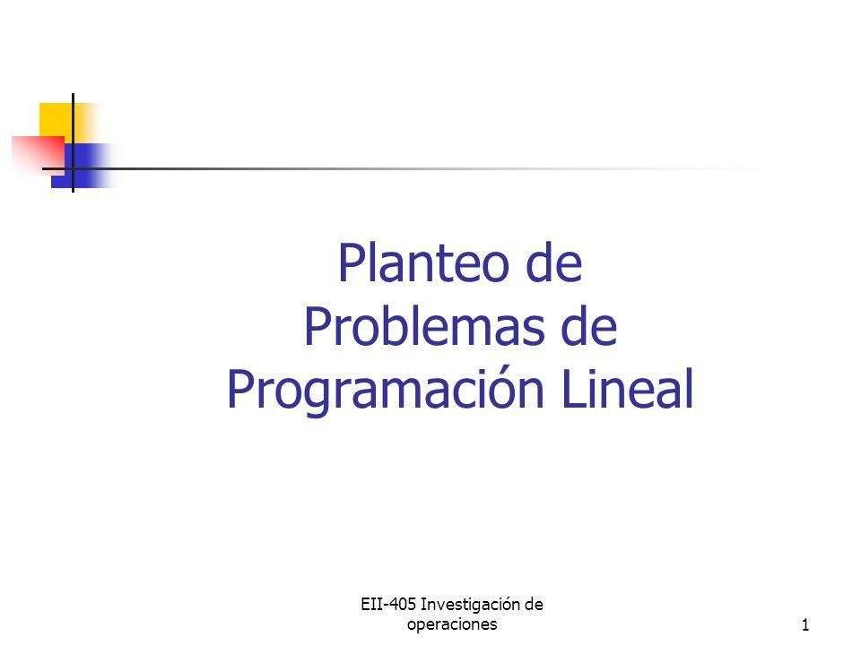 EII-405 Investigación de operaciones1 Planteo de Problemas de Programación Lineal
