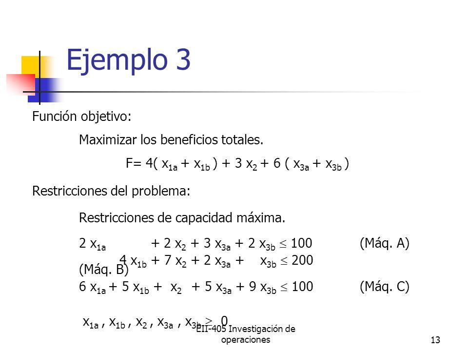 EII-405 Investigación de operaciones13 Ejemplo 3 Función objetivo: Maximizar los beneficios totales. F= 4( x 1a + x 1b ) + 3 x 2 + 6 ( x 3a + x 3b ) R