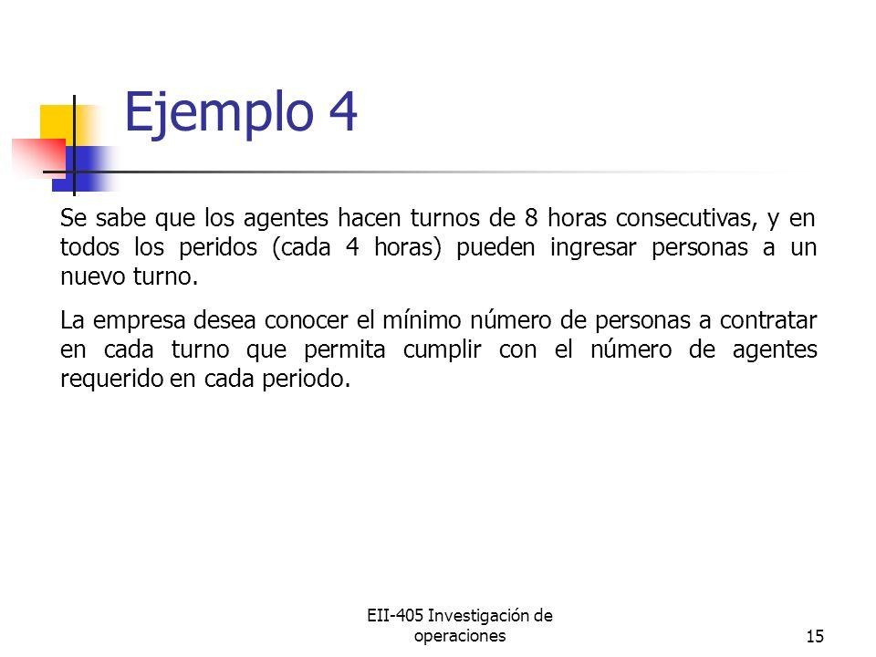 EII-405 Investigación de operaciones15 Ejemplo 4 Se sabe que los agentes hacen turnos de 8 horas consecutivas, y en todos los peridos (cada 4 horas) pueden ingresar personas a un nuevo turno.