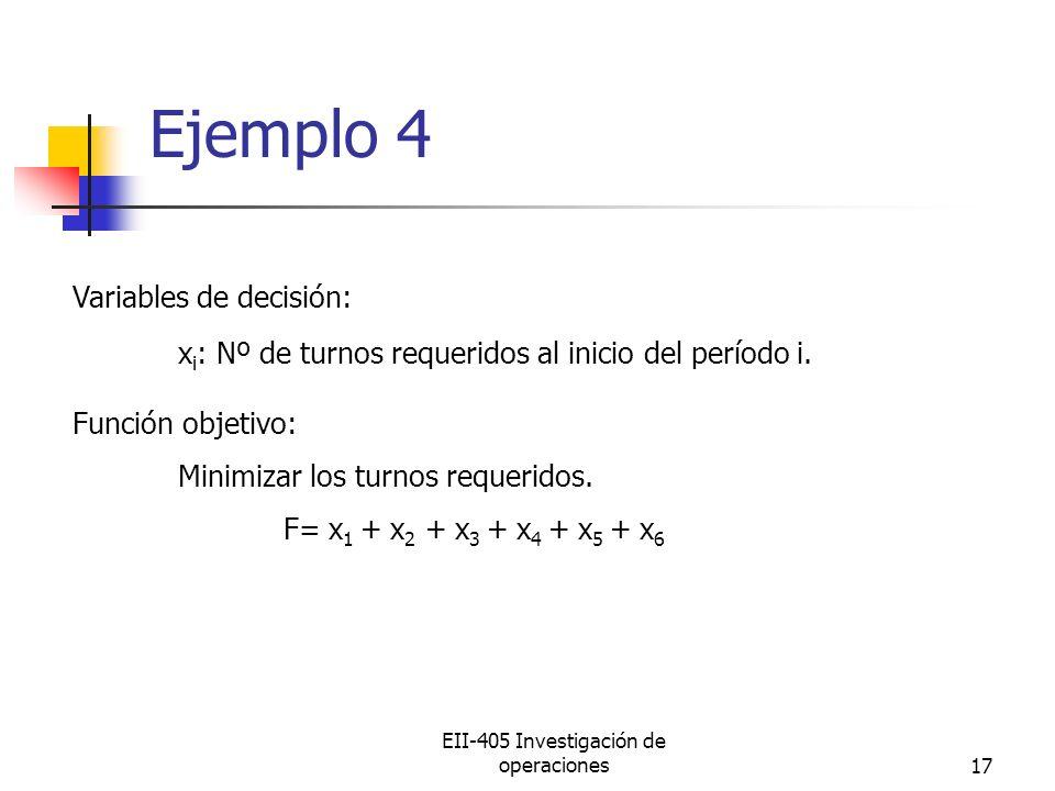 EII-405 Investigación de operaciones17 Ejemplo 4 Variables de decisión: x i : Nº de turnos requeridos al inicio del período i. Función objetivo: Minim