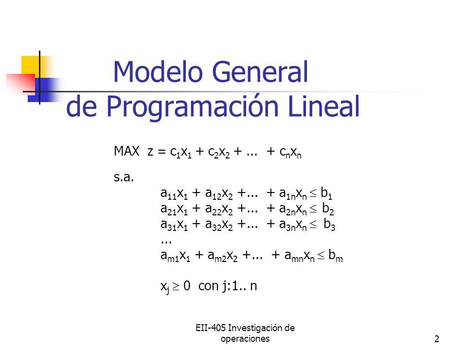 EII-405 Investigación de operaciones2 Modelo General de Programación Lineal MAX z = c 1 x 1 + c 2 x 2 +... + c n x n s.a. a 11 x 1 + a 12 x 2 +... + a