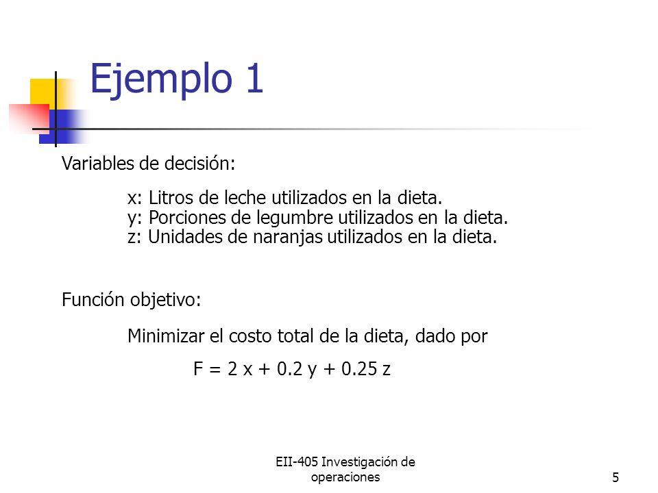 EII-405 Investigación de operaciones5 Variables de decisión: x: Litros de leche utilizados en la dieta. y: Porciones de legumbre utilizados en la diet