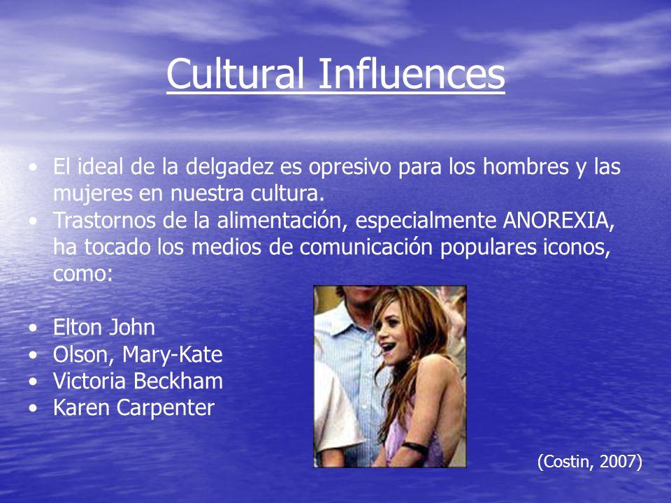 Cultural Influences (Costin, 2007) El ideal de la delgadez es opresivo para los hombres y las mujeres en nuestra cultura.