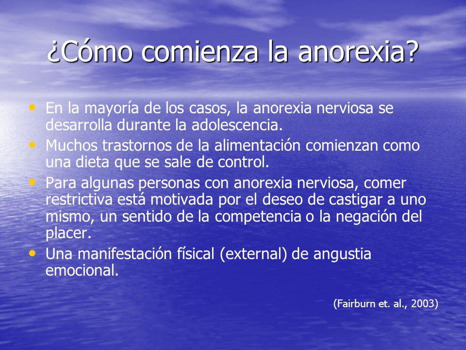 ¿Cómo comienza la anorexia? En la mayoría de los casos, la anorexia nerviosa se desarrolla durante la adolescencia. Muchos trastornos de la alimentaci