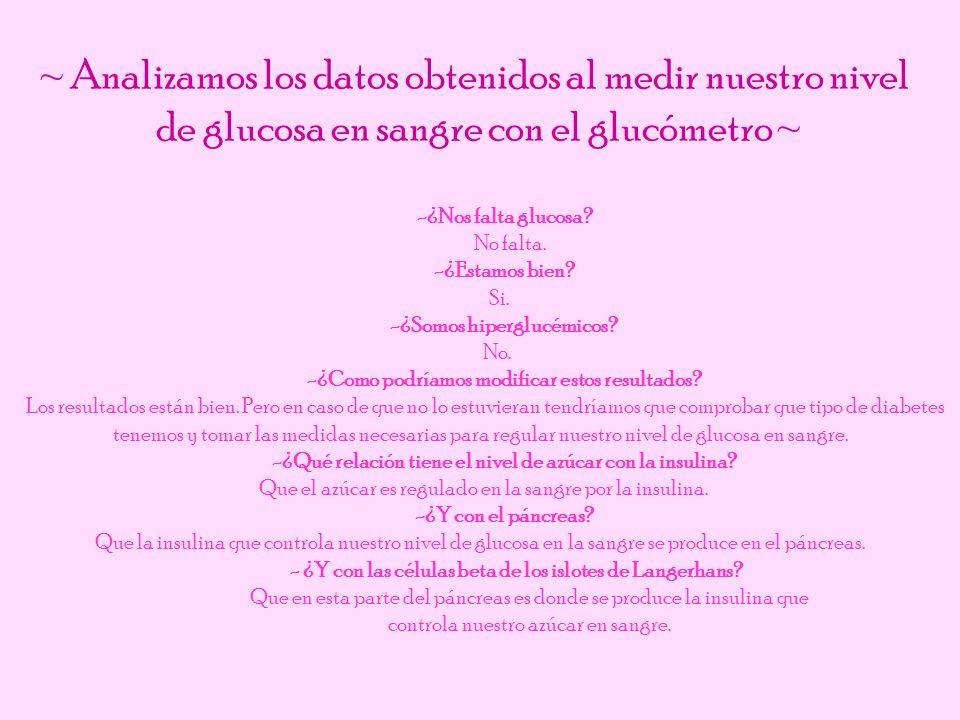 ~ Analizamos los datos obtenidos al medir nuestro nivel de glucosa en sangre con el glucómetro ~ -¿Nos falta glucosa? No falta. -¿Estamos bien? Si. -¿
